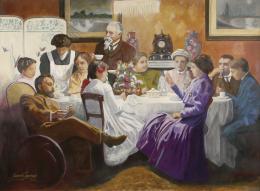 ROBERTO JIMENEZ (Escuela española contemporánea) Retrato de la familia Sorolla