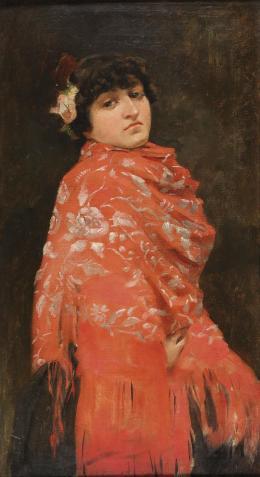 ESCUELA ESPAÑOLA, SIGLO XIX Joven con mantón