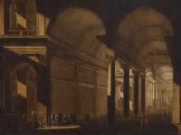 ESCUELA ITALIANA SIGLO XVIII Interior arquitectónico