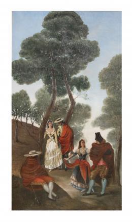 ESCUELA ESPAÑOLA, S.XIX Personajes en la pradera. Majos y majas