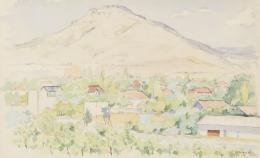 JUAN ESPLANDIU (1901-1978). Pintor madrileño PAISAJE CON CASAS