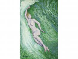 JUAN GIRALDEZ (1901-?) Pintor madrileño DESNUDO FEMENINO EN EL AGUA, 1973