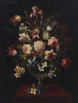 ESCUELA ESPAÑOLA S. XVII Pareja de bodegones de flores