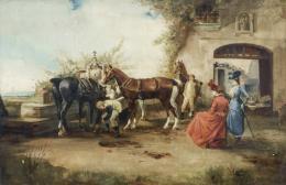 JOSEP CUSACHS y CUSACHS (Montpellier, 1851-Barcelona, 1908) Cambiando los caballos