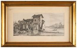 JACQUES CALLOT (Nancy, 1592 - 1635) PAREJA DE PAISAJES ITALIANOS, Ca.1630