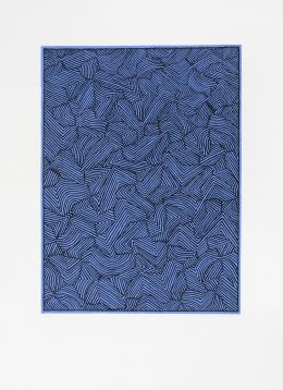 ALFREDO ALCAIN (Madrid, 1936) Entrecruzados negro sobre azul , 2003