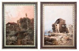 ANDRES LARRAGA (Valtierra, 1862-Barcelona, 1931) Pareja de paisajes