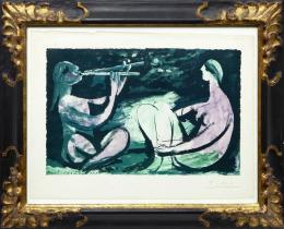 PABLO PICASSO (1881-1973). Pintor malagueño NATURE MORTE Á LA BOUTEILLE DE VIN, 1920