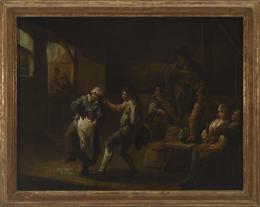 ATRIBUIDO DAVID TENIERS (Bruselas 1610 -1690) Interior en taberna