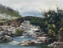 IGLESIAS SANZ (1935 -2013). Pintor madrileño PAISAJE CON PUENTE