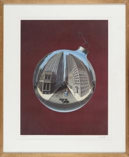 DAVID MAN (California, EE.UU., 1940) Fisheye view of wall street.