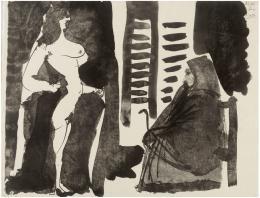 PABLO PICASSO (Málaga, 1881-Mougins, Francia, 1973) Fille nu et vielle femme