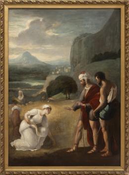 ESCUELA INGLESA CA. 1800 RUTH Y BOAZ, COPIA DEL ORIGINAL DE WILLIAM O. HAMILTON (INGLATERRA 1751–1801)