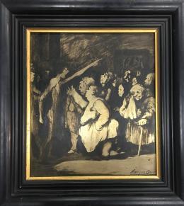 ENRIQUE NAVARRO (1924 - 1997) Pintor madrileño PERSONAJES EN NEGRO