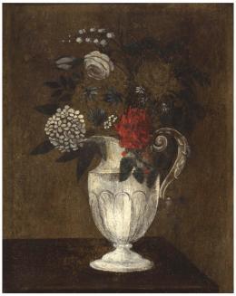 ESCUELA ESPAÑOLA SIGLO XVII Bodegón de flores