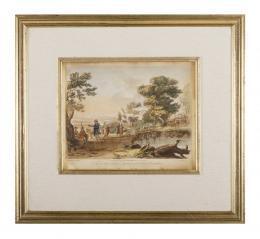 CLAUDE DE LORRAINE (1600-1682). Pintor francés PAISAJE CON PASTORES, 1774