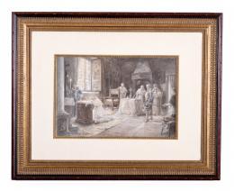 RICARDO VILLODAS (1846 - 1904). Pintor madrileño CARDENAL CISNEROS AGRADECIENDO LA CONQUISTA DE ORÁN