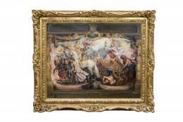 EL TRIUNFO DE LA IGLESIA, COPIA DEL ORIGINAL DE PETER PAUL RUBENS (1577 - 1640). Pintor flamenco