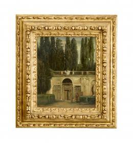 VISTA DEL JARDIN DE LA VILLA MEDICI EN ROMA, COPIA DEL ORIGINAL DE DIEGO RODRÍGUEZ DE SILVA Y VELÁZQUEZ (1599 – 1660). Pintor sevillano