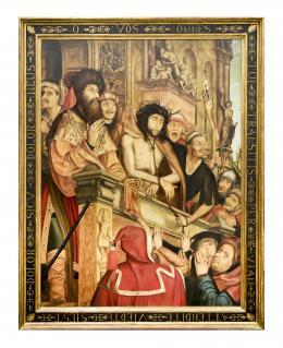 CRISTO PRESENTADO AL PUEBLO, COPIA DEL ORIGINAL DE QUINTEN MASSYS (1465 – 1530). Pintor flamenco