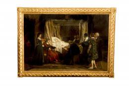 DOÑA ISABEL LA CATÓLICA DICTANDO SU TESTAMENTO, COPIA DEL ORIGINAL DE EDUARDO ROSALES (1836 – 1873). Pintor madrileño