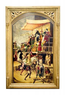 AUTO DE FE PRESIDIDO POR SANTO DOMINGO DE GUZMÁN, COPIA DEL ORIGINAL DE PEDRO DE BERRUGUETE (1445 – 1503). Pintor palentino