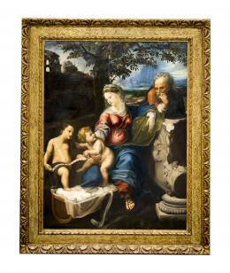 LA SAGRADA FAMILIA DEL ROBLE, COPIA DEL ORIGINAL DE RAFAEL (1483 – 1520). Pintor italiano