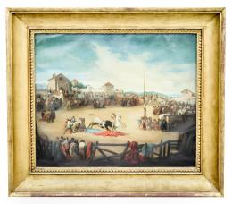 CORRIDA DE TOROS EN UN PUEBLO, COPIA DEL ORIGINAL DE EUGENIO LUCAS VELÁZQUEZ (1817 – 1870). Pintor madrileño