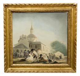 LA ERMITA DE SAN ISIDRO EL DÍA DE LA FIESTA, COPIA DEL ORIGINAL DE FRANCISCO DE GOYA Y LUCIENTES (1746 - 1828). Pintor zaragozano