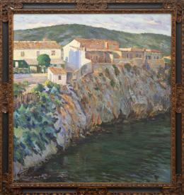 GUILLERMO BERGNES SOLER (1887 - 1975) Pintor barcelonés CASAS EN LA RIVIERA