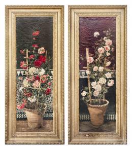 JUAN ALDAZ Y SANCHO (Puerto de Santa María, 1860 - c.1912) Claveles y rosas