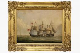 PETER MONAMY, SEGUIDOR DE (1681 - 1749). Pintor inglés. BATALLA NAVAL.