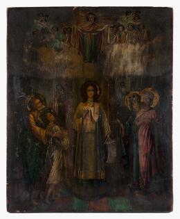 ICONO CON LA PROTECCIÓN DE LA VIRGEN MARÍA, RUSIA FF.S.XIX