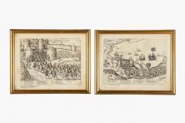 FRANS HOGENBERG (Bélgica, 1535 -1590) PAREJA DE GRABADOS ORIGINALES DE LA GUERRA DE LOS 80 AÑOS, PAÍSES BAJOS
