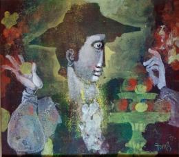 PAU LLUIS FORNES (1930-2006) Pintor mallorquín HOMBRE CON FRUTERO, 1972