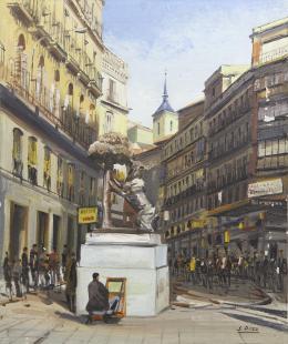 SANTIAGO DÍAZ SANTOS (1940) Pintor madrileño EL OSO Y EL MADROÑO, MADRID