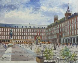 SANTIAGO DÍAZ SANTOS (1940) Pintor madrileño PLAZA MAYOR, MADRID