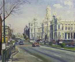 SANTIAGO DÍAZ SANTOS (1940) Pintor madrileño VISTA CIBELES, MADRID