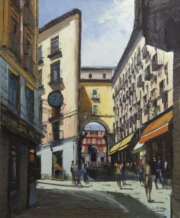 SANTIAGO DÍAZ SANTOS (1940) Pintor madrileño CALLE DE POSTAS, MADRID