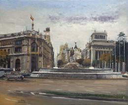 SANTIAGO DÍAZ SANTOS (1940) Pintor madrileño PLAZA DE CIBELES, MADRID