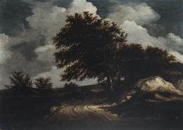 ATRIBUIDO A JACOB I. RUISDAEL (Haarlem, c. 1628 - 1682) PAISAJE CON PAREJA DE CAMINANTES
