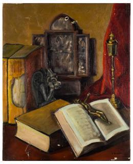 ESCUELA ESPAÑOLA CONTEMPORÁNEA Bodegón con libros
