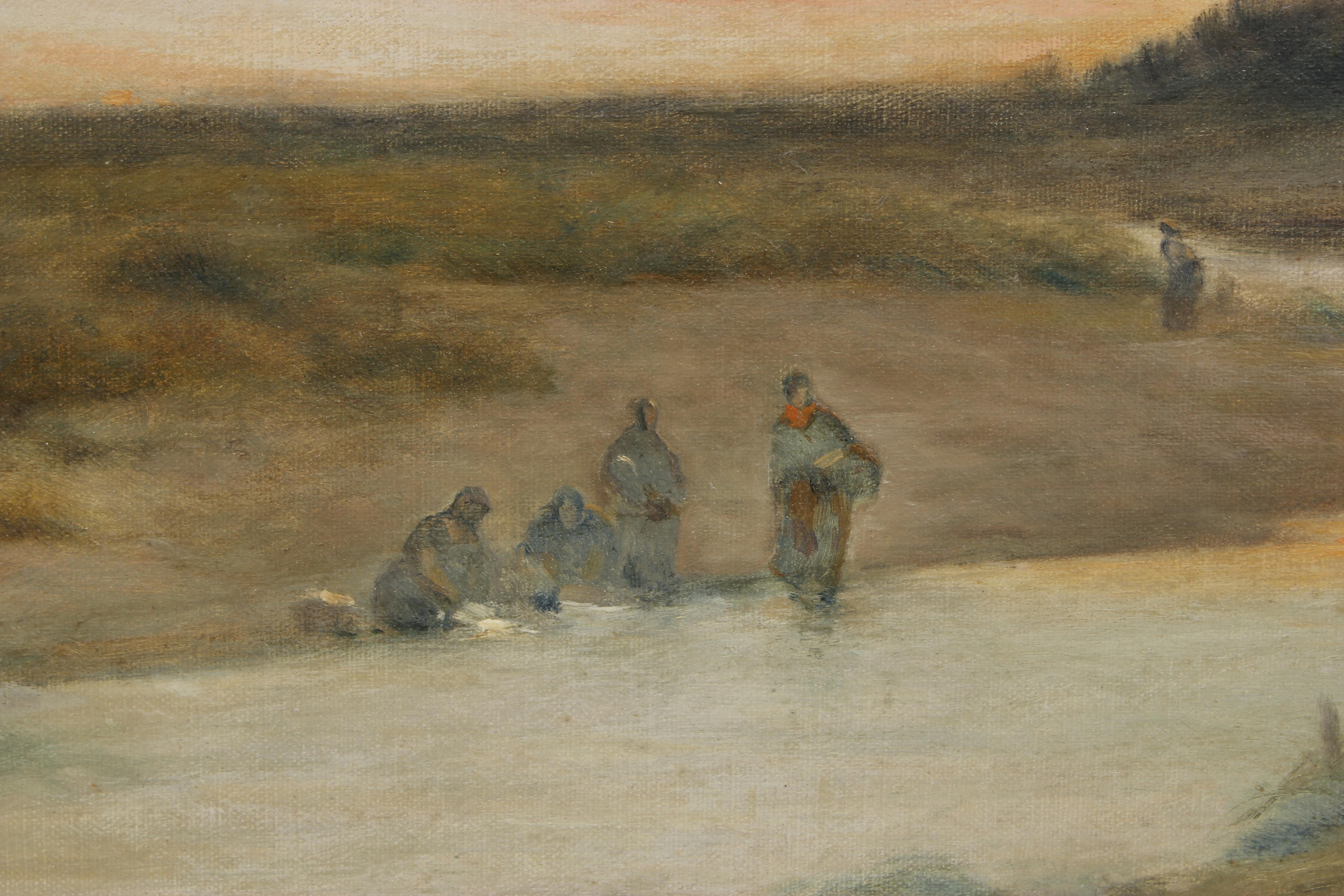 """TOMÁS SANS CORBELLA (1869?-1918). """"PAISAJE FLUVIAL""""."""