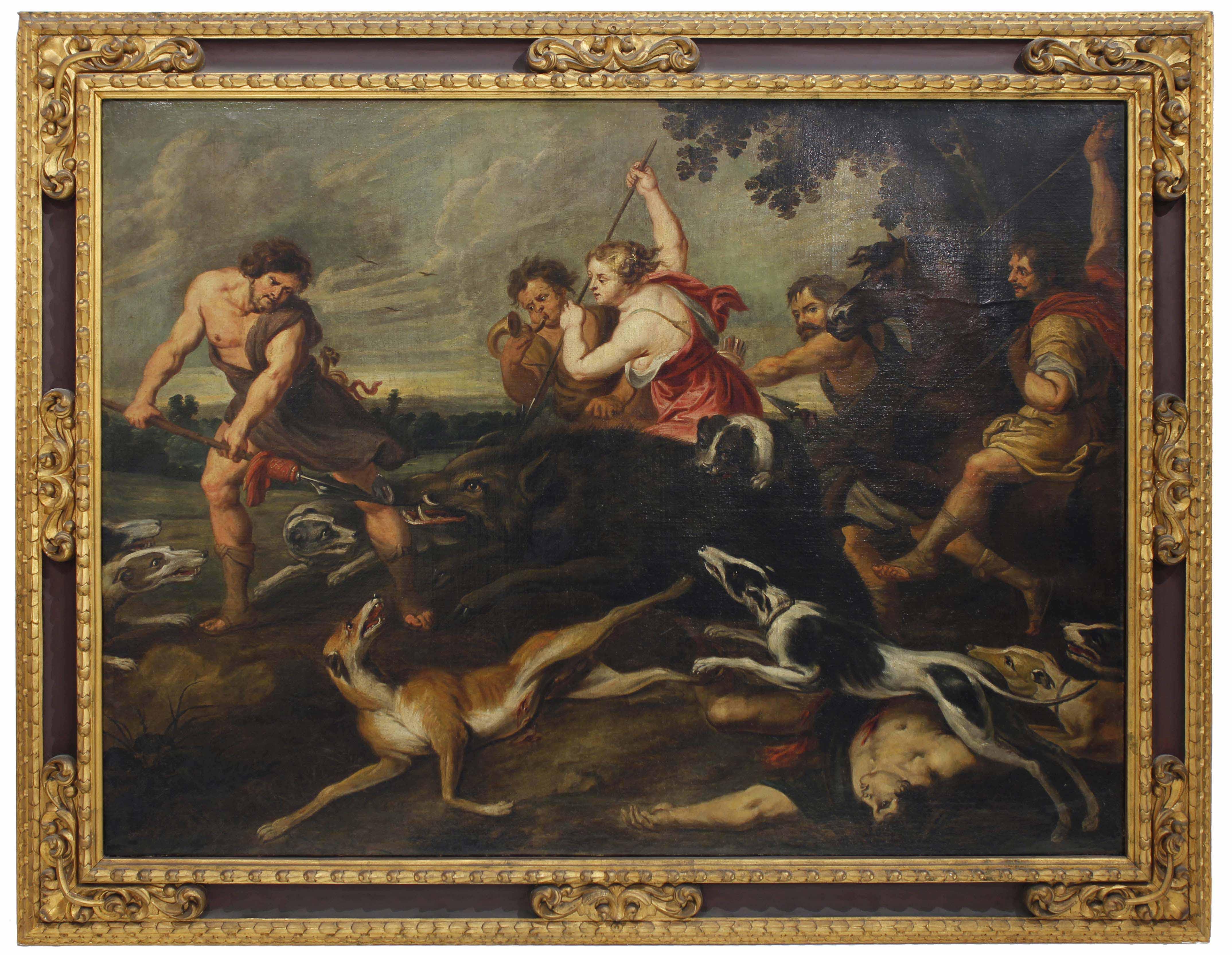 """VINCENT MALO (1606/1607-1650). """"ATALANTA Y MELEAGRO CAZANDO"""